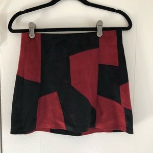 Re sand black faux suede 70s skirt